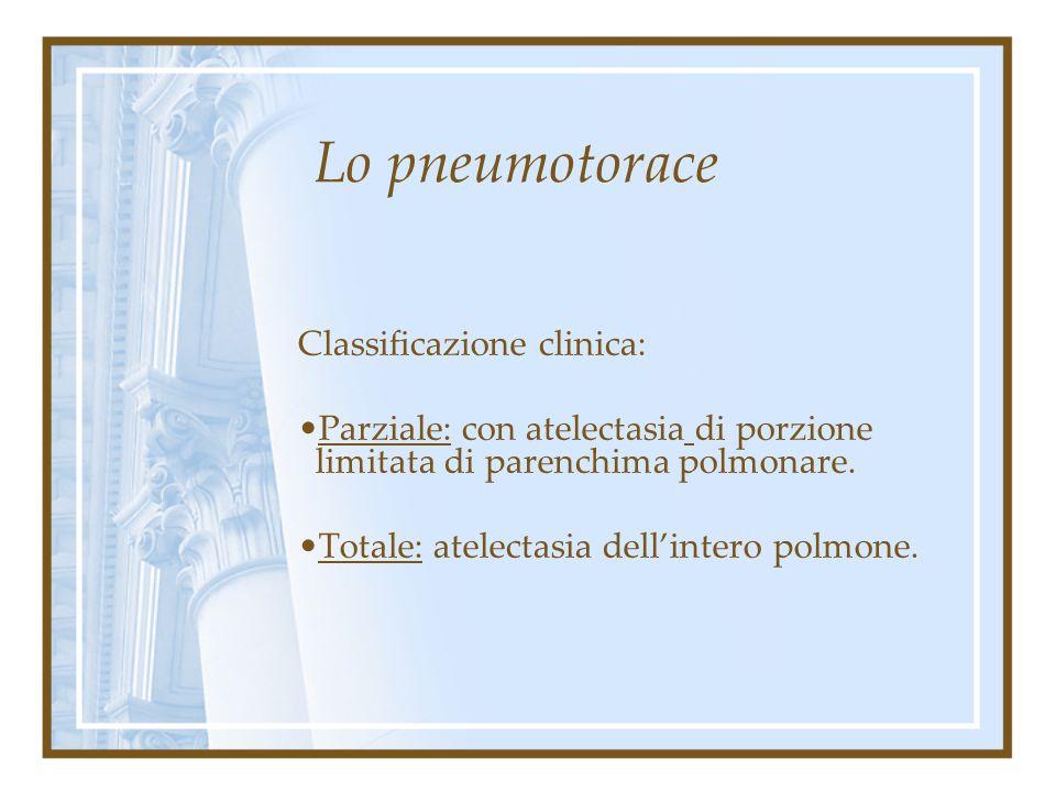 Lo pneumotorace Classificazione clinica: 1.Aperto normoteso 2.Chiuso 3. A valvola iperteso