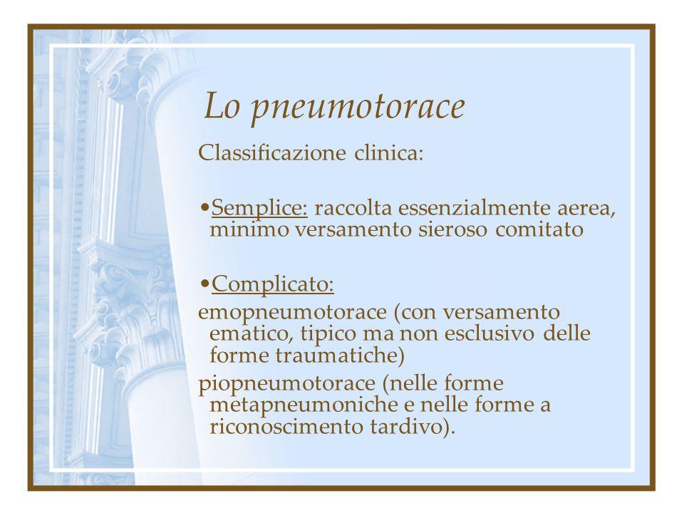 Lo pneumotorace Classificazione clinica: Parziale: con atelectasia di porzione limitata di parenchima polmonare. Totale: atelectasia dell'intero polmo