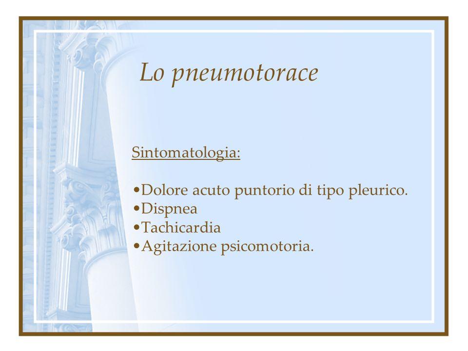 Lo pneumotorace Classificazione clinica: Semplice: raccolta essenzialmente aerea, minimo versamento sieroso comitato Complicato: emopneumotorace (con