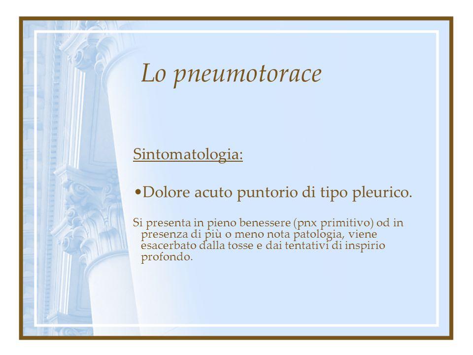 Lo pneumotorace Sintomatologia: Dolore acuto puntorio di tipo pleurico. Dispnea Tachicardia Agitazione psicomotoria.