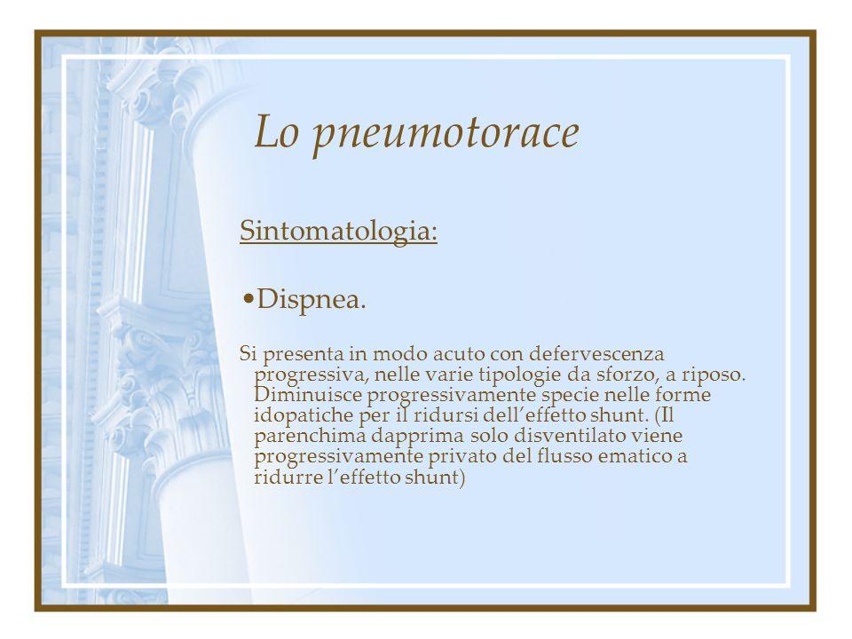 Lo pneumotorace Sintomatologia: Dolore acuto puntorio di tipo pleurico. Si presenta in pieno benessere (pnx primitivo) od in presenza di più o meno no