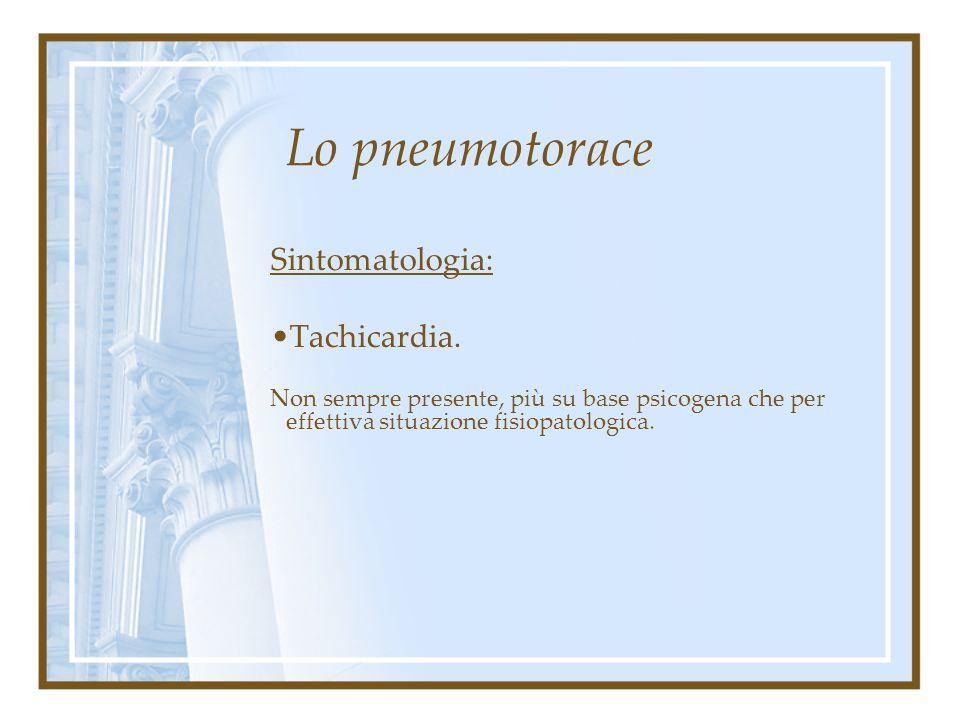 Lo pneumotorace Sintomatologia: Dispnea. Si presenta in modo acuto con defervescenza progressiva, nelle varie tipologie da sforzo, a riposo. Diminuisc