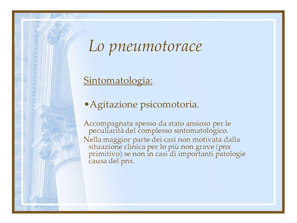 Lo pneumotorace Sintomatologia: Tachicardia. Non sempre presente, più su base psicogena che per effettiva situazione fisiopatologica.
