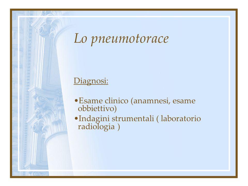 Lo pneumotorace Sintomatologia: Agitazione psicomotoria. Accompagnata spesso da stato ansioso per le peculiarità del complesso sintomatologico. Nella