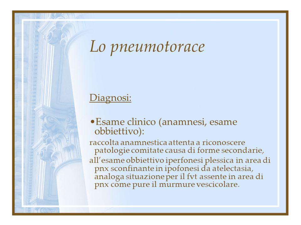 Lo pneumotorace Diagnosi: Esame clinico (anamnesi, esame obbiettivo) Indagini strumentali ( laboratorio radiologia )