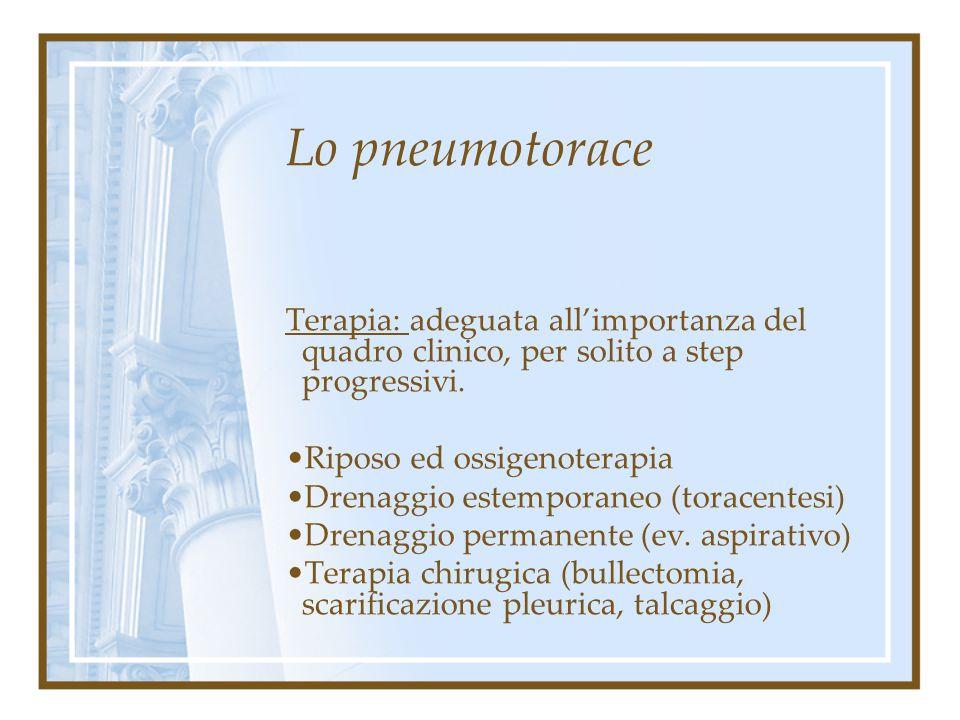 Lo pneumotorace Diagnosi: Indagini strumentali: routine ematochimica con emogasanalisi, Rx torace, Tc torace, Ecg