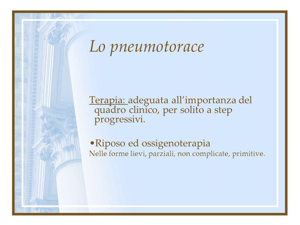 Lo pneumotorace Terapia: adeguata all'importanza del quadro clinico, per solito a step progressivi. Riposo ed ossigenoterapia Drenaggio estemporaneo (
