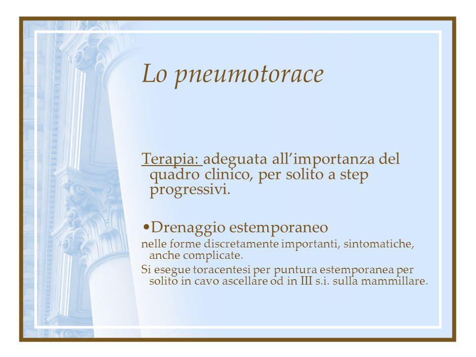 Lo pneumotorace Terapia: adeguata all'importanza del quadro clinico, per solito a step progressivi. Riposo ed ossigenoterapia Nelle forme lievi, parzi