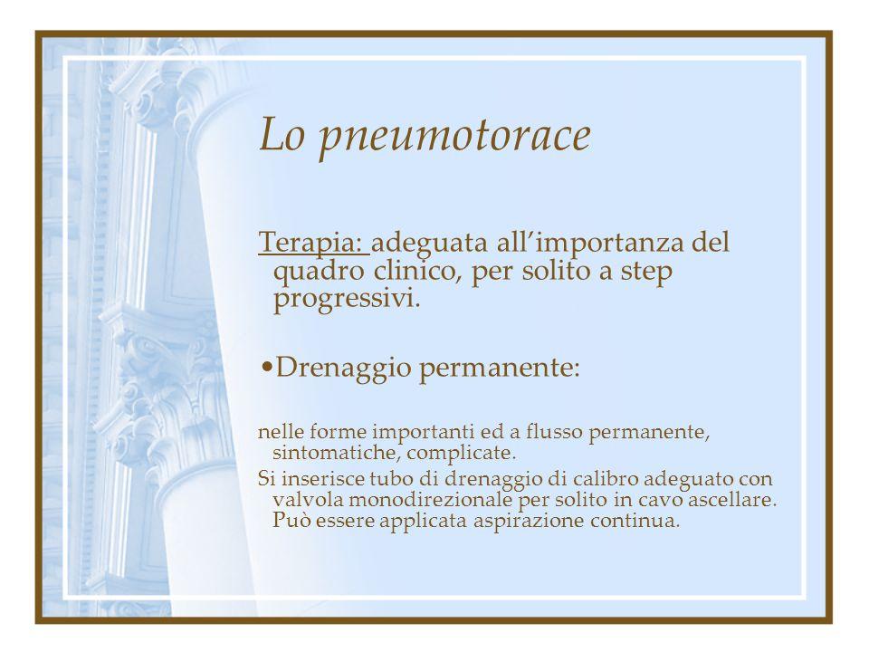 Lo pneumotorace Terapia: adeguata all'importanza del quadro clinico, per solito a step progressivi. Drenaggio estemporaneo nelle forme discretamente i