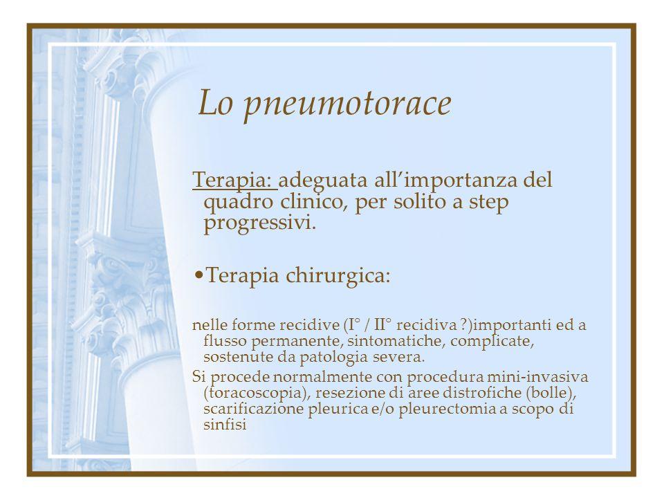 Lo pneumotorace Terapia: Drenaggio permanente: drenaggi