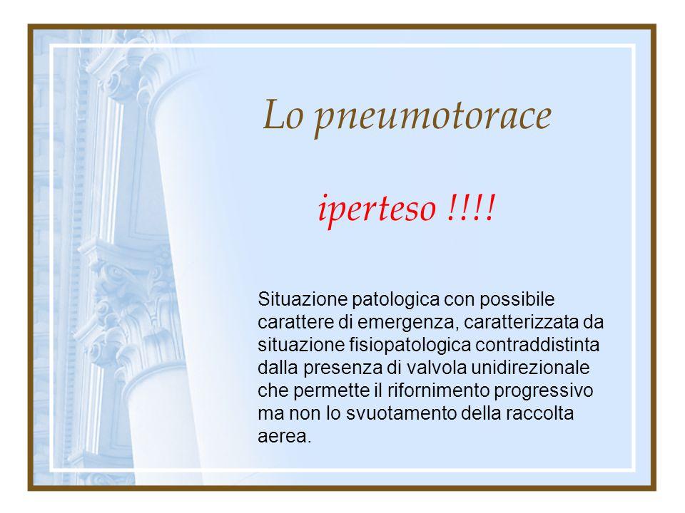 Lo pneumotorace Terapia: adeguata all'importanza del quadro clinico, per solito a step progressivi. Terapia chirurgica: nelle forme recidive (I° / II°