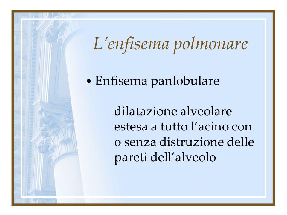 L'enfisema polmonare Enfisema panlobulare Enfisema centrolobulare