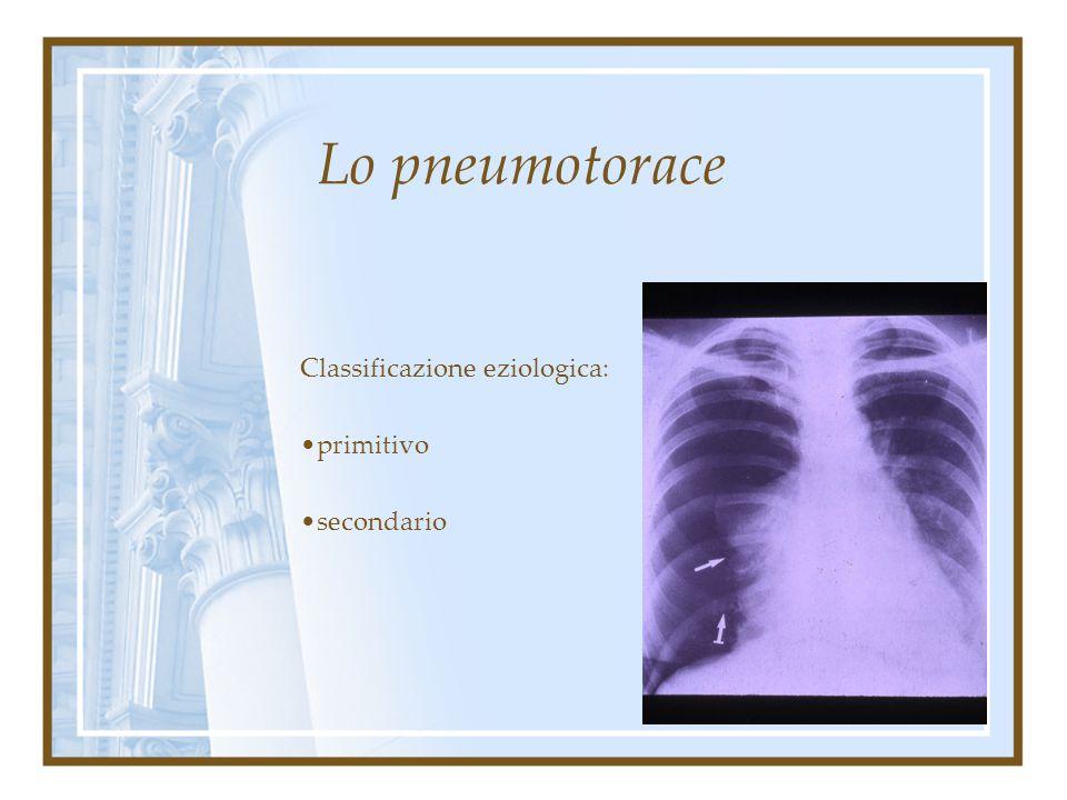 Lo pneumotorace Tra i due foglietti (c.d. cavo pleurico)è contenuta minima quantità di liquido sieroso con funzione di lubrificante. La pressione nega