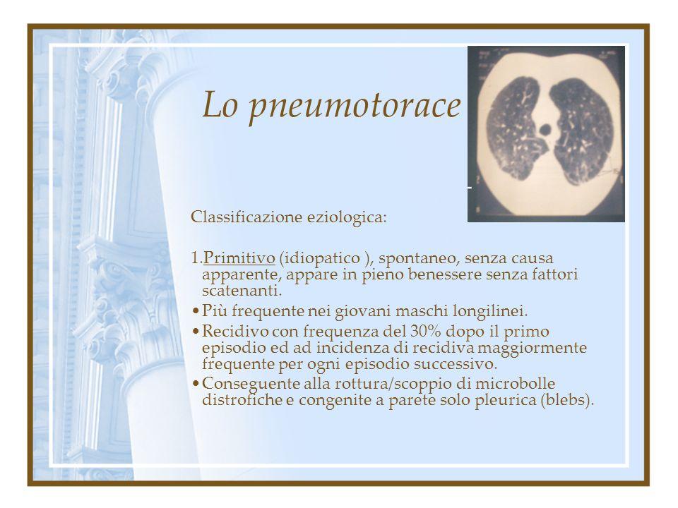 Lo pneumotorace Classificazione eziologica: primitivo secondario