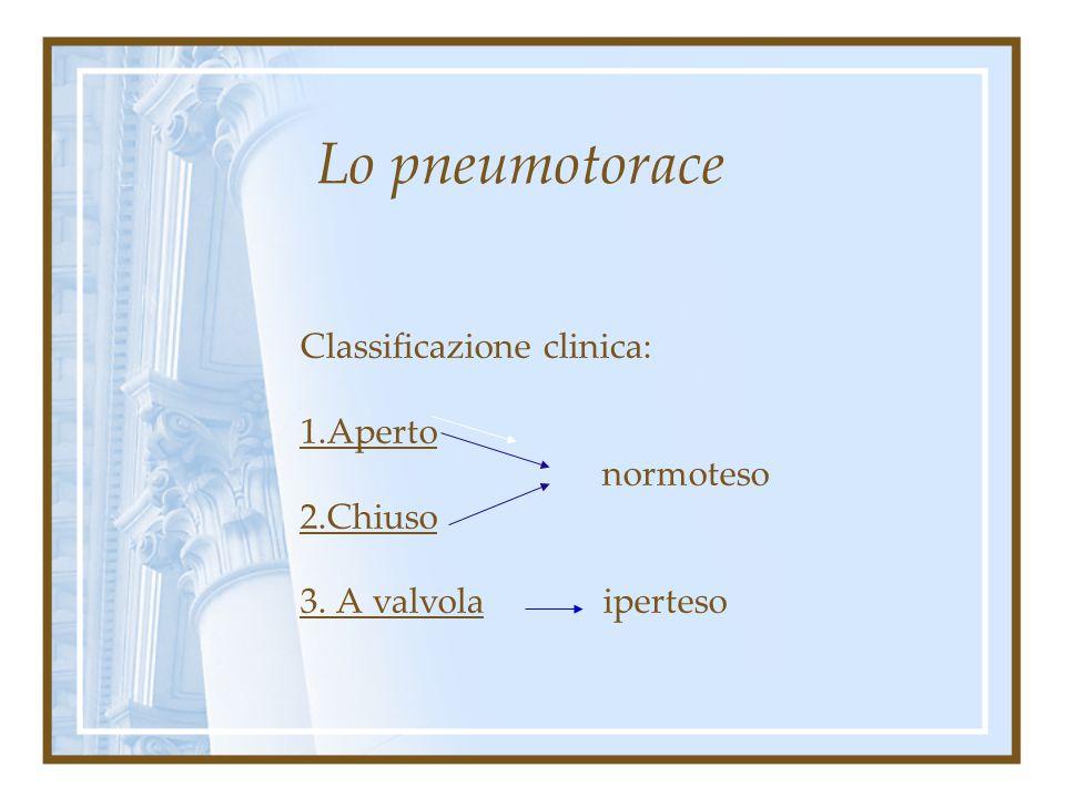 Lo pneumotorace Classificazione eziologica: 2. Secondario Traumatico: traumi penetranti, traumi contusivi, traumi concussivi emopnx