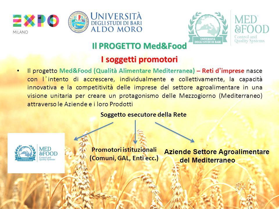 Il PROGETTO Med&Food I soggetti promotori Il progetto Med&Food (Qualità Alimentare Mediterranea) – Reti d'imprese nasce con l'intento di accrescere, i