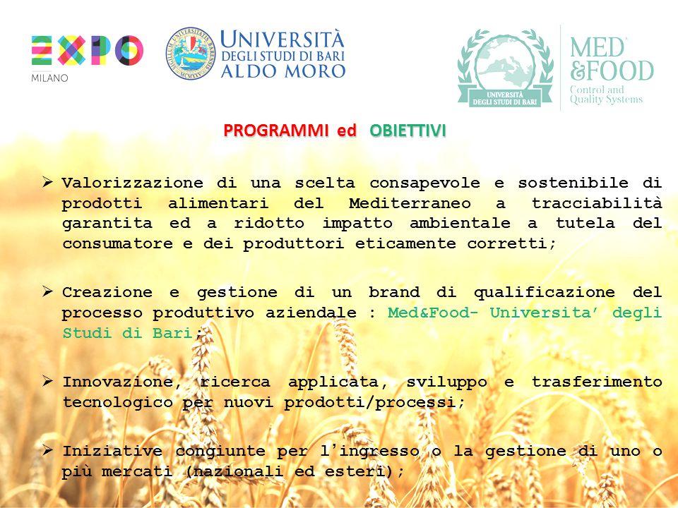 PROGRAMMI ed OBIETTIVI  Valorizzazione di una scelta consapevole e sostenibile di prodotti alimentari del Mediterraneo a tracciabilità garantita ed a