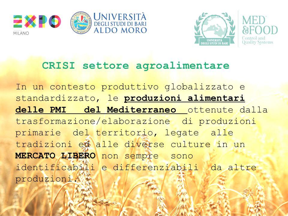 """"""" CRISI settore agroalimentare In un contesto produttivo globalizzato e standardizzato, le produzioni alimentari delle PMI del Mediterraneo ottenute d"""