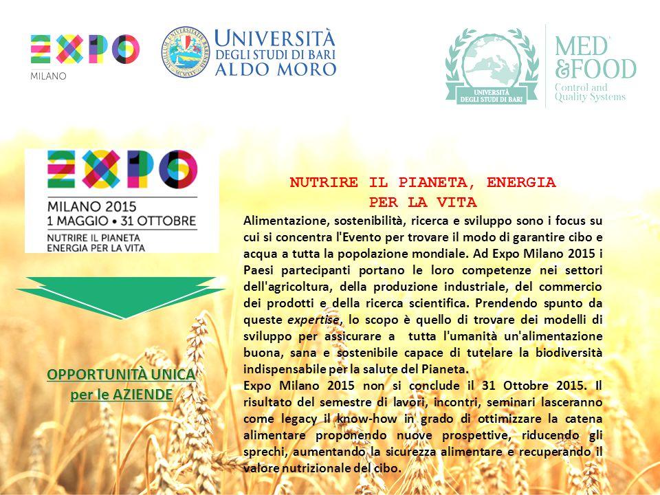 NUTRIRE IL PIANETA, ENERGIA PER LA VITA Alimentazione, sostenibilità, ricerca e sviluppo sono i focus su cui si concentra l'Evento per trovare il modo