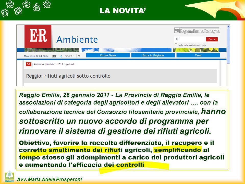 Avv. Maria Adele Prosperoni Reggio Emilia, 26 gennaio 2011 - La Provincia di Reggio Emilia, le associazioni di categoria degli agricoltori e degli all