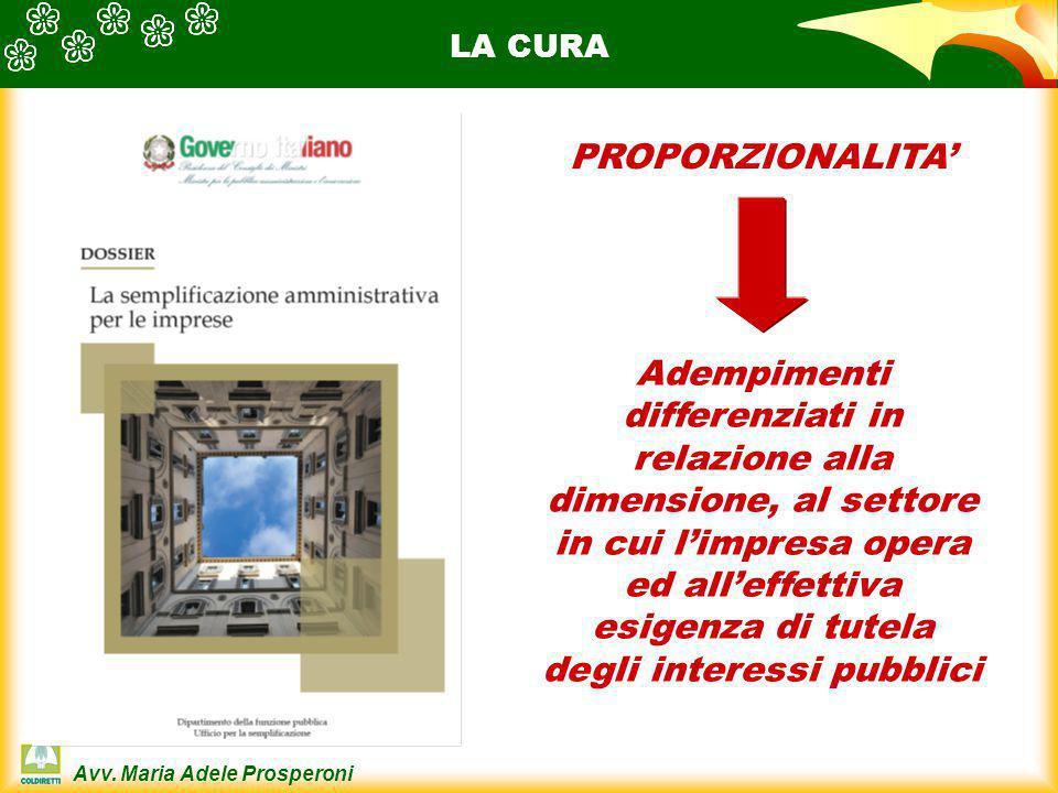 Avv. Maria Adele Prosperoni LA CURA PROPORZIONALITA' Adempimenti differenziati in relazione alla dimensione, al settore in cui l'impresa opera ed all'
