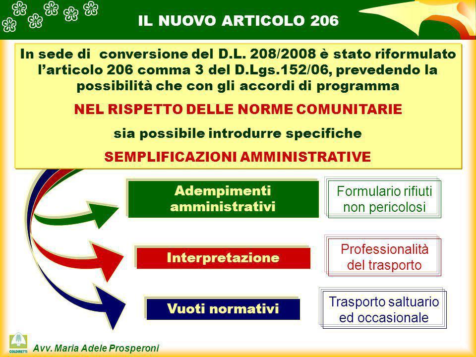 Avv. Maria Adele Prosperoni IL NUOVO ARTICOLO 206 Adempimenti amministrativi Interpretazione Vuoti normativi In sede di conversione del D.L. 208/2008