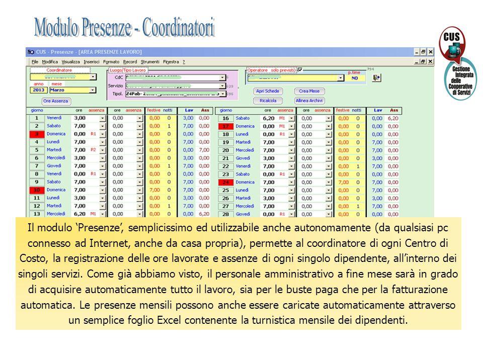 Il modulo 'Presenze', semplicissimo ed utilizzabile anche autonomamente (da qualsiasi pc connesso ad Internet, anche da casa propria), permette al coo