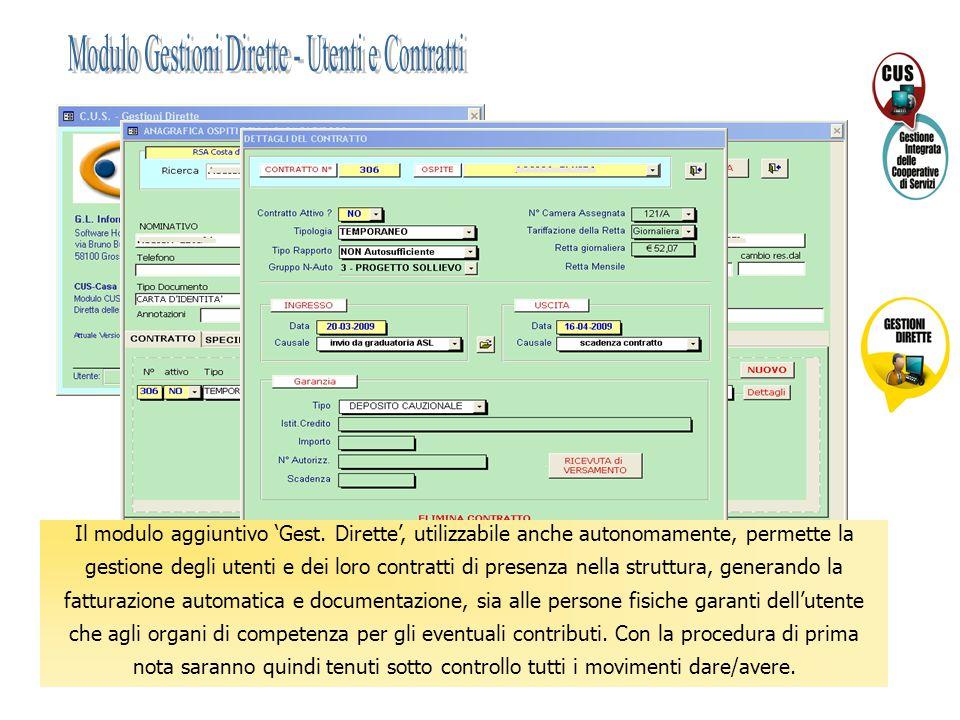 Il modulo aggiuntivo 'Gest. Dirette', utilizzabile anche autonomamente, permette la gestione degli utenti e dei loro contratti di presenza nella strut