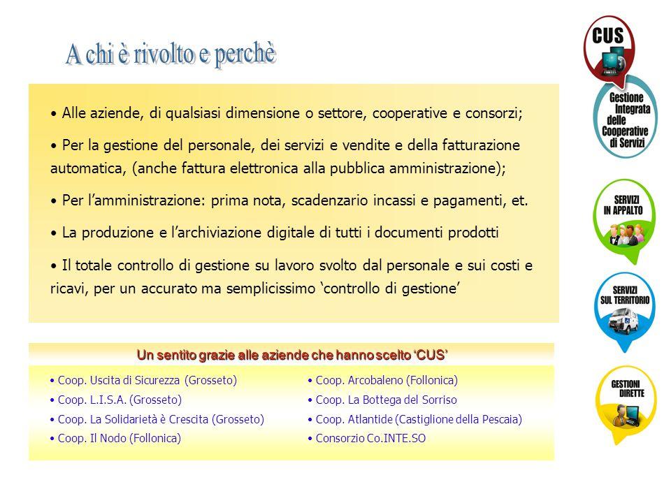 Alle aziende, di qualsiasi dimensione o settore, cooperative e consorzi; Per la gestione del personale, dei servizi e vendite e della fatturazione aut