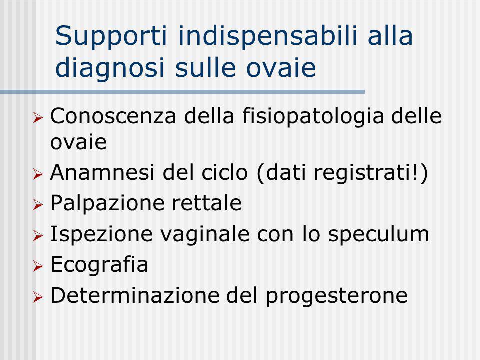 Supporti indispensabili alla diagnosi sulle ovaie  Conoscenza della fisiopatologia delle ovaie  Anamnesi del ciclo (dati registrati!)  Palpazione r
