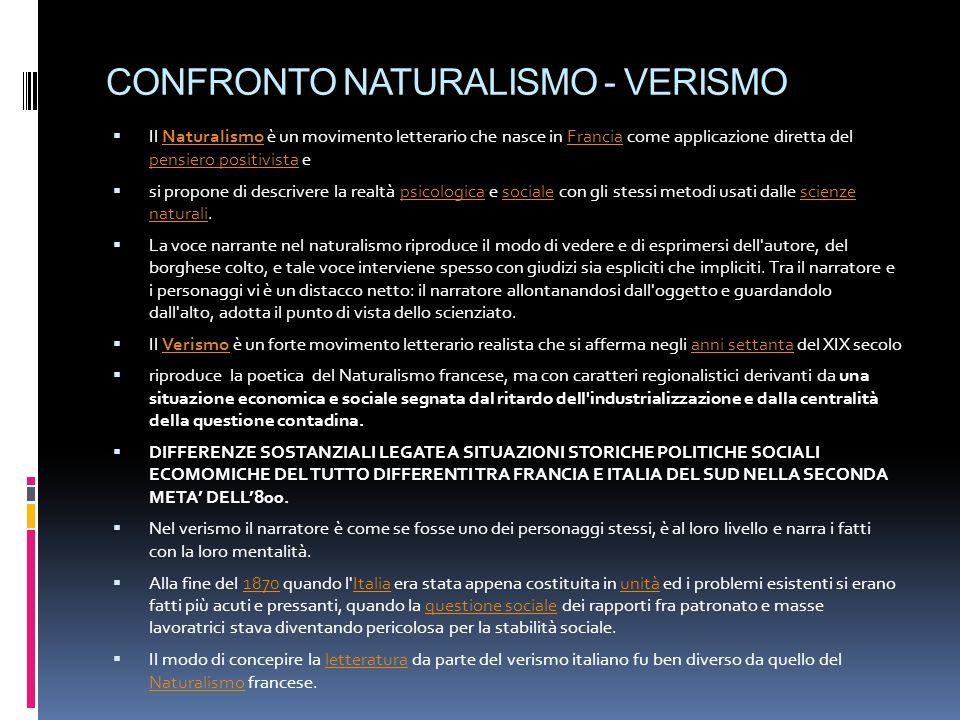 CONFRONTO NATURALISMO - VERISMO  Il Naturalismo è un movimento letterario che nasce in Francia come applicazione diretta del pensiero positivista eNa