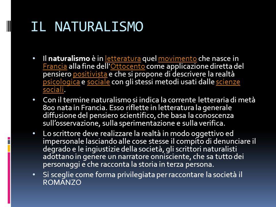 IL NATURALISMO Il naturalismo è in letteratura quel movimento che nasce in Francia alla fine dell'Ottocento come applicazione diretta del pensiero pos