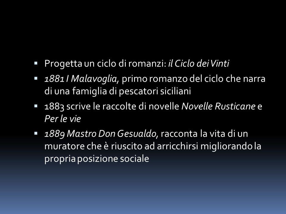  Progetta un ciclo di romanzi: il Ciclo dei Vinti  1881 I Malavoglia, primo romanzo del ciclo che narra di una famiglia di pescatori siciliani  188