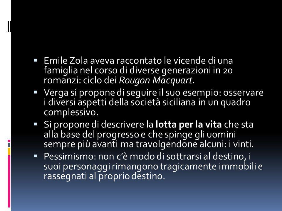  Emile Zola aveva raccontato le vicende di una famiglia nel corso di diverse generazioni in 20 romanzi: ciclo dei Rougon Macquart.  Verga si propone