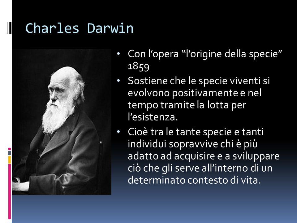 """Charles Darwin Con l'opera """"l'origine della specie"""" 1859 Sostiene che le specie viventi si evolvono positivamente e nel tempo tramite la lotta per l'e"""