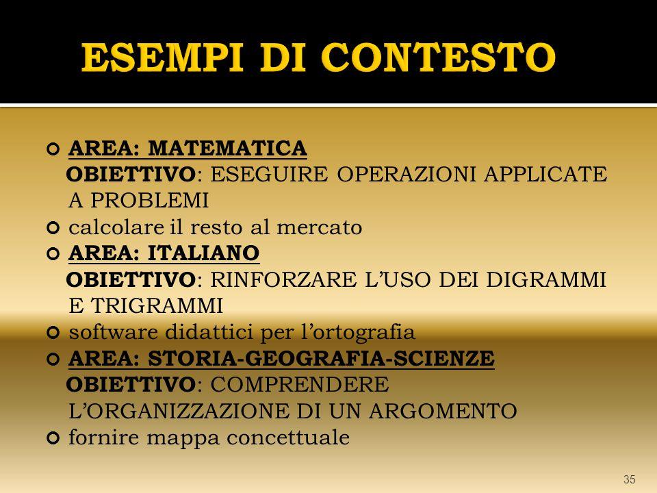 AREA: MATEMATICA OBIETTIVO : ESEGUIRE OPERAZIONI APPLICATE A PROBLEMI calcolare il resto al mercato AREA: ITALIANO OBIETTIVO : RINFORZARE L'USO DEI DI