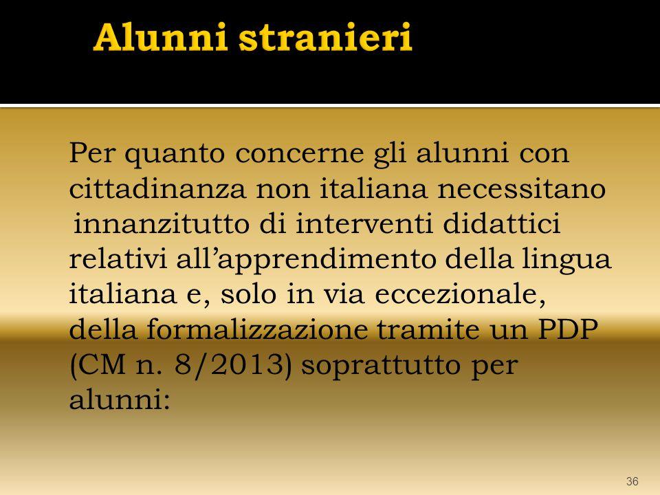 Per quanto concerne gli alunni con cittadinanza non italiana necessitano innanzitutto di interventi didattici relativi all'apprendimento della lingua