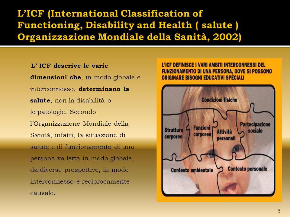 L' ICF descrive le varie dimensioni che, in modo globale e interconnesso, determinano la salute, non la disabilità o le patologie. Secondo l'Organizza