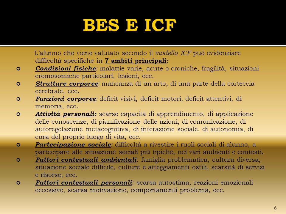 L'alunno che viene valutato secondo il modello ICF può evidenziare difficoltà specifiche in 7 ambiti principali : Condizioni fisiche : malattie varie, acute o croniche, fragilità, situazioni cromosomiche particolari, lesioni, ecc.