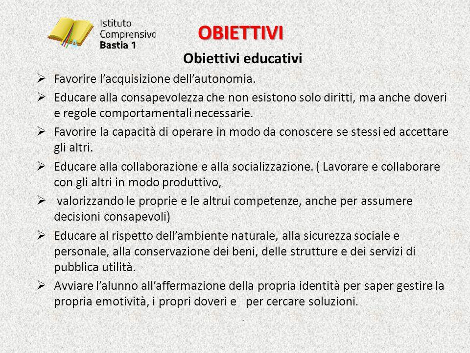 OBIETTIVI OBIETTIVI Obiettivi educativi  Favorire l'acquisizione dell'autonomia.  Educare alla consapevolezza che non esistono solo diritti, ma anch