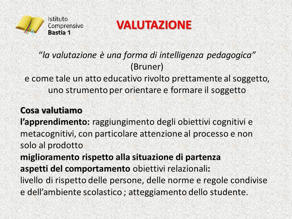 """VALUTAZIONE """"la valutazione è una forma di intelligenza pedagogica"""" (Bruner) e come tale un atto educativo rivolto prettamente al soggetto, uno strume"""