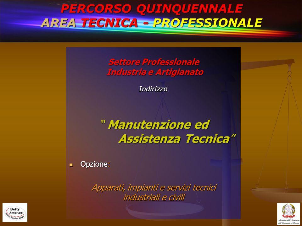PERCORSO QUINQUENNALE AREA TECNICA - PROFESSIONALE Settore Professionale Industria e Artigianato Indirizzo Manutenzione ed Assistenza Tecnica Opzione: Apparati, impianti e servizi tecnici industriali e civili