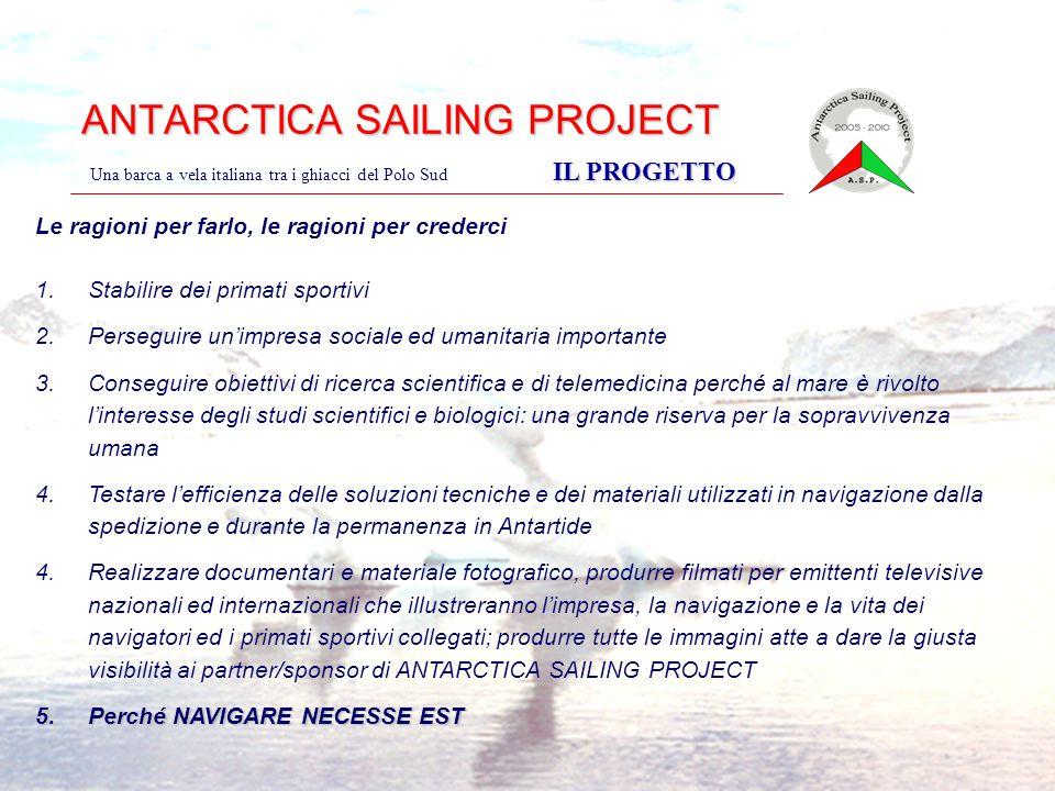 ANTARCTICA SAILING PROJECT IL PROGETTO Una barca a vela italiana tra i ghiacci del Polo Sud IL PROGETTO Le ragioni per farlo, le ragioni per crederci