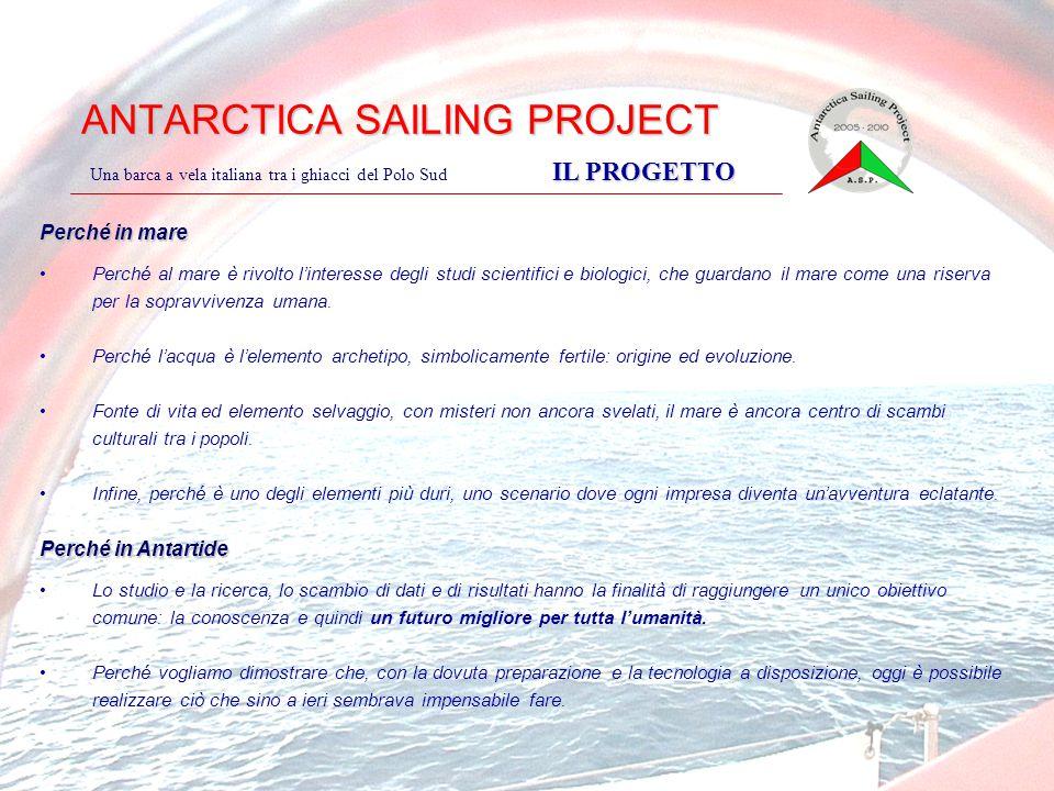 ANTARCTICA SAILING PROJECT IL PROGETTO Una barca a vela italiana tra i ghiacci del Polo Sud IL PROGETTO Perché in mare Perché al mare è rivolto l'inte