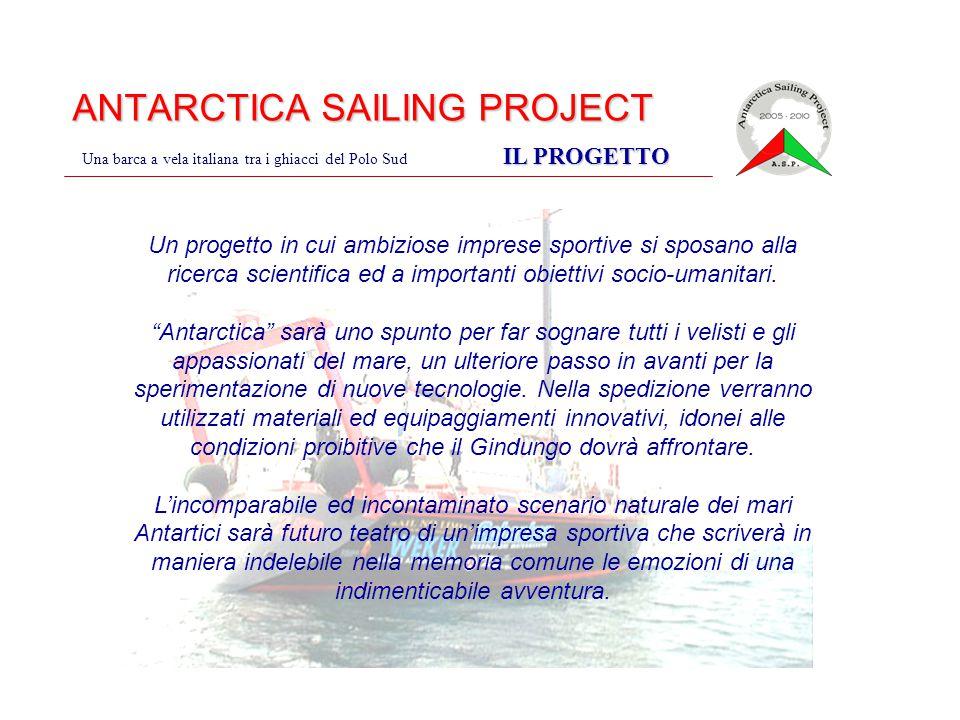 ANTARCTICA SAILING PROJECT IL PROGETTO Una barca a vela italiana tra i ghiacci del Polo Sud IL PROGETTO Un progetto in cui ambiziose imprese sportive si sposano alla ricerca scientifica ed a importanti obiettivi socio-umanitari.