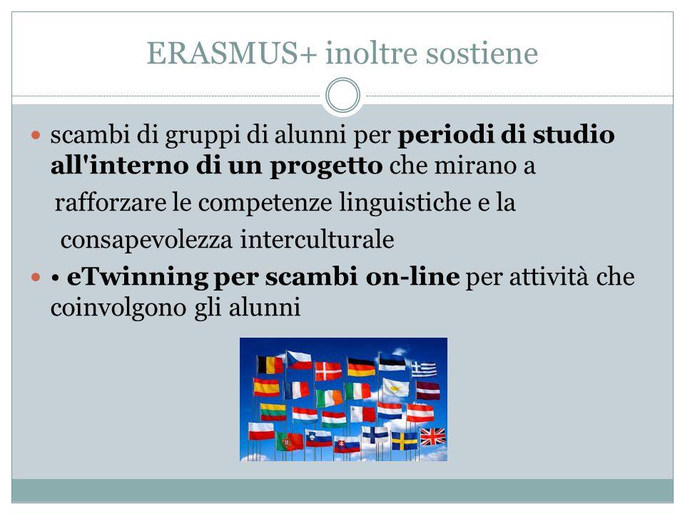 ERASMUS+ inoltre sostiene scambi di gruppi di alunni per periodi di studio all'interno di un progetto che mirano a rafforzare le competenze linguistic