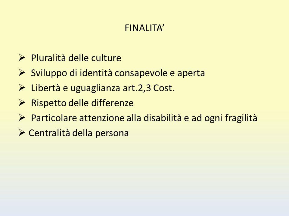 FINALITA'  Pluralità delle culture  Sviluppo di identità consapevole e aperta  Libertà e uguaglianza art.2,3 Cost.  Rispetto delle differenze  Pa