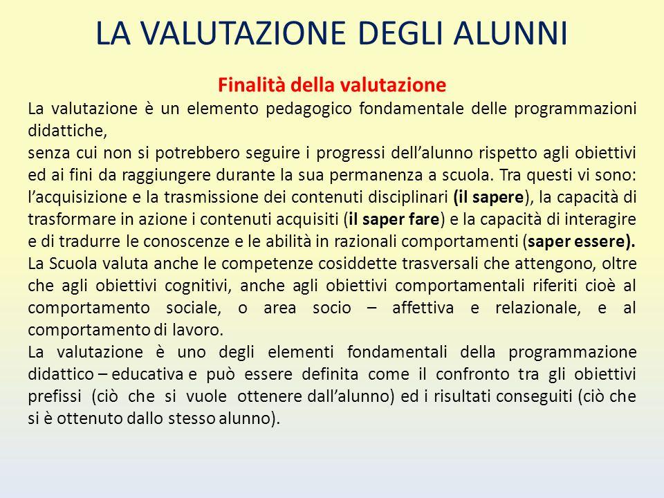 LA VALUTAZIONE DEGLI ALUNNI Finalità della valutazione La valutazione è un elemento pedagogico fondamentale delle programmazioni didattiche, senza cui