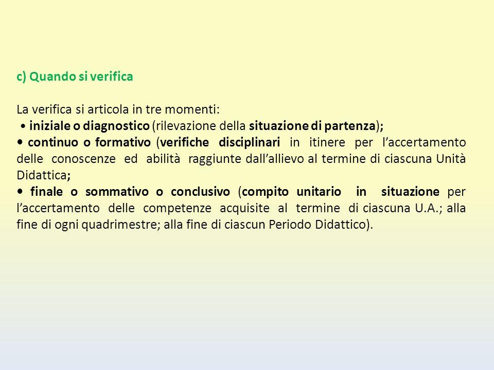 c) Quando si verifica La verifica si articola in tre momenti: iniziale o diagnostico (rilevazione della situazione di partenza); continuo o formativo