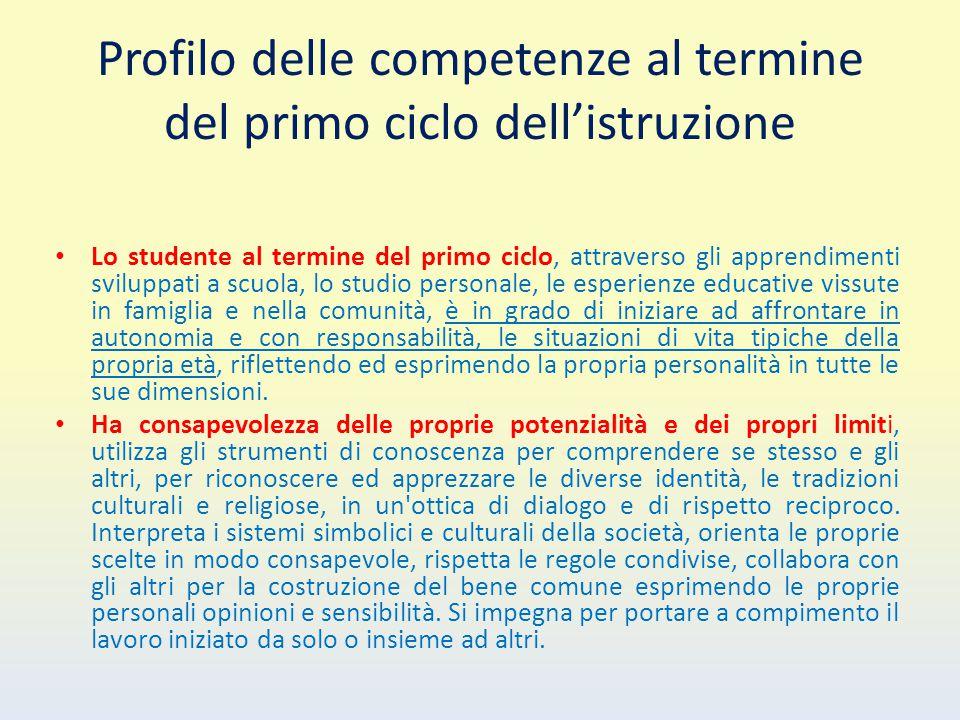 Profilo delle competenze al termine del primo ciclo dell'istruzione Lo studente al termine del primo ciclo, attraverso gli apprendimenti sviluppati a